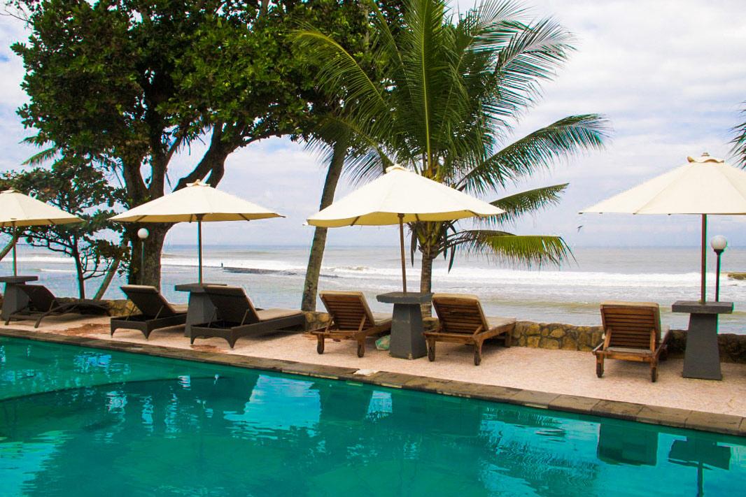 Swimming pool view at Pondok Pitaya in Balian Beach