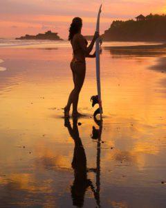 sunset balian beach surfing bali