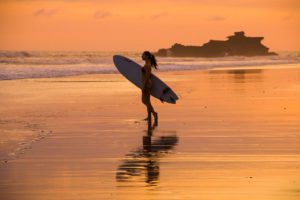 sunset surfing bali balian beach