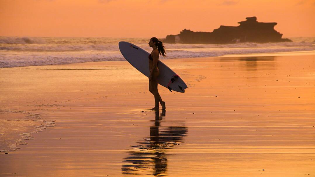 sunset surfing bali balian beach