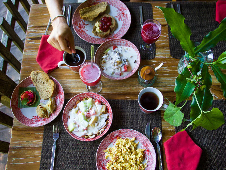 breakfast at svarga loka wellness resort bali