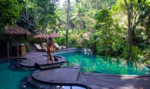 Infinity pool at Svarga Loka resort in Ubud