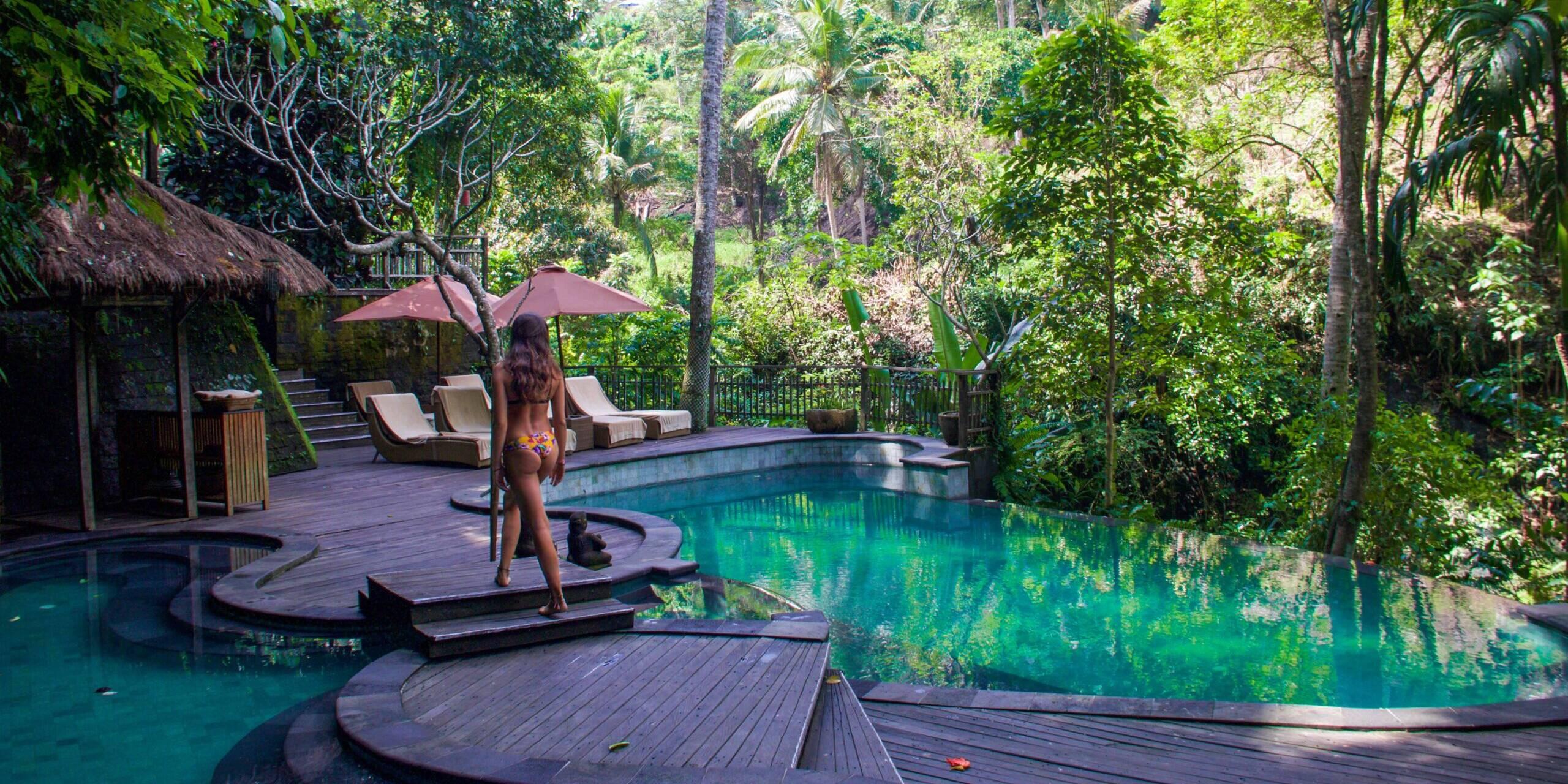 Infinity pool at Svarga Loka resort in Ubud