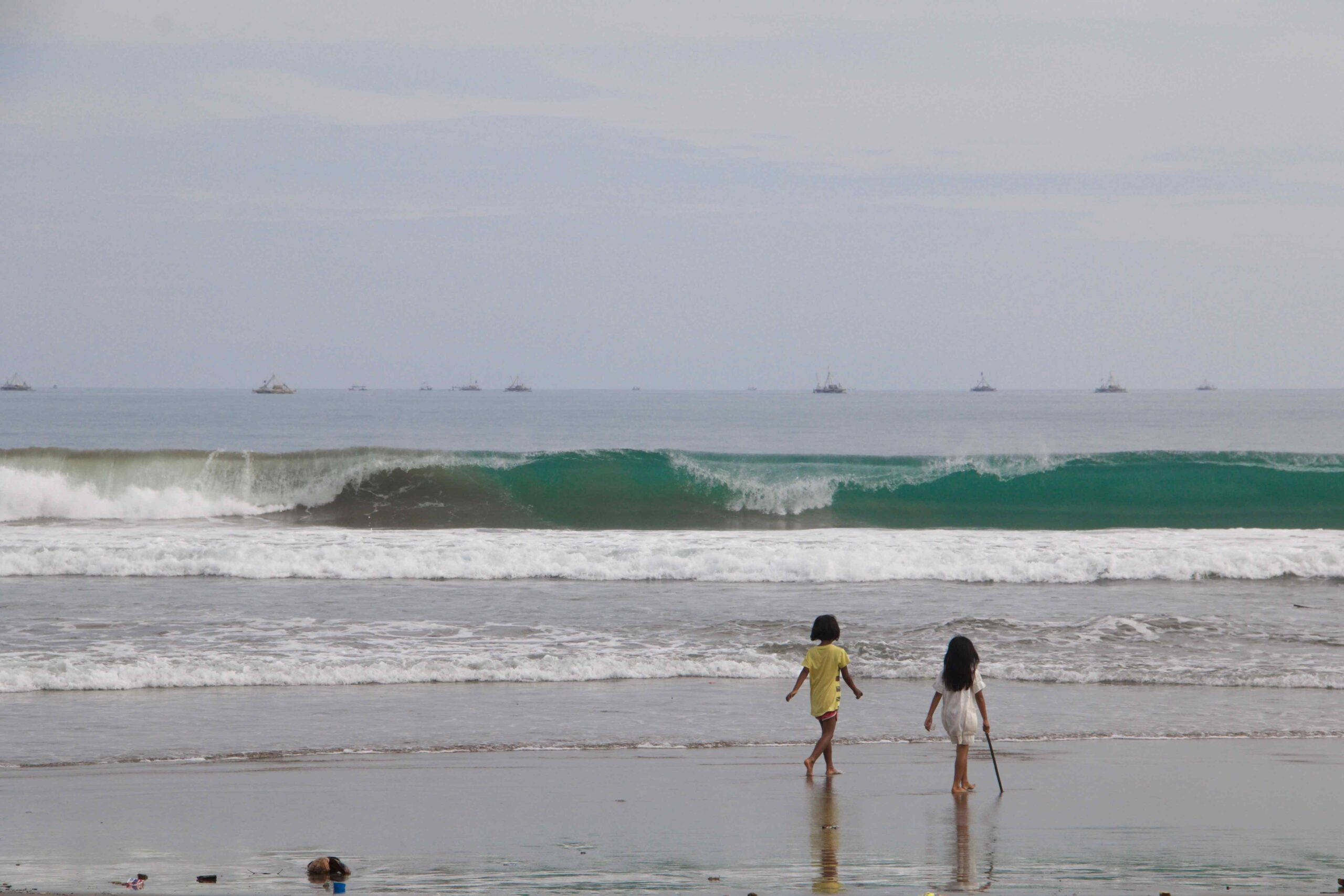 Kids on the beach in cimaja java