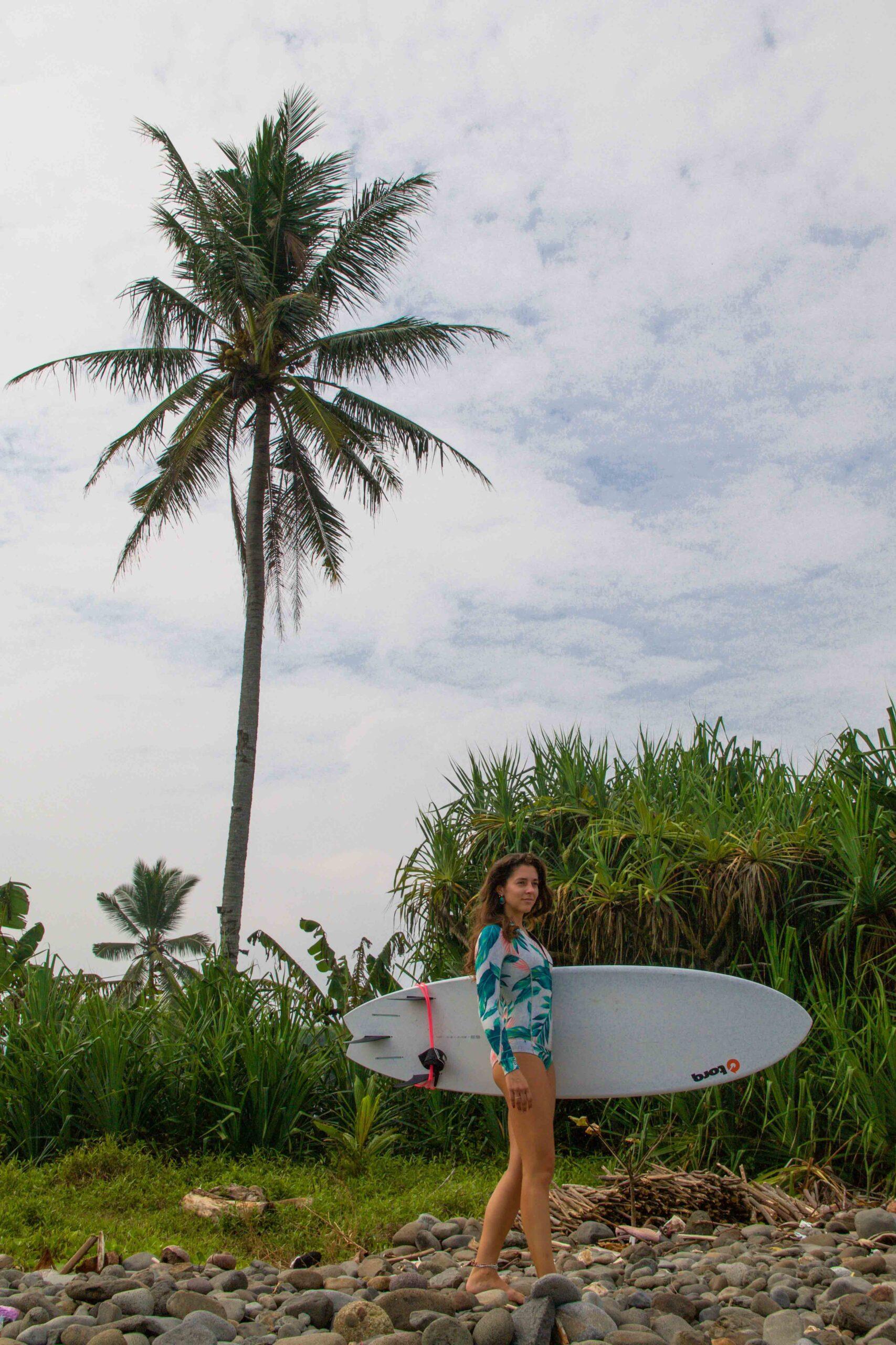 Surf girl in Cimaja Java