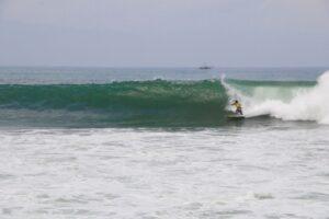 surfing cimaja waves in Java indonesia