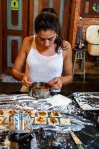 cooking ravioli at Portibi Farms