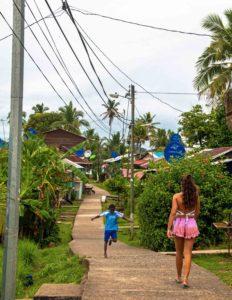 Kid running on Isla Bastimentos Bocas del Toro