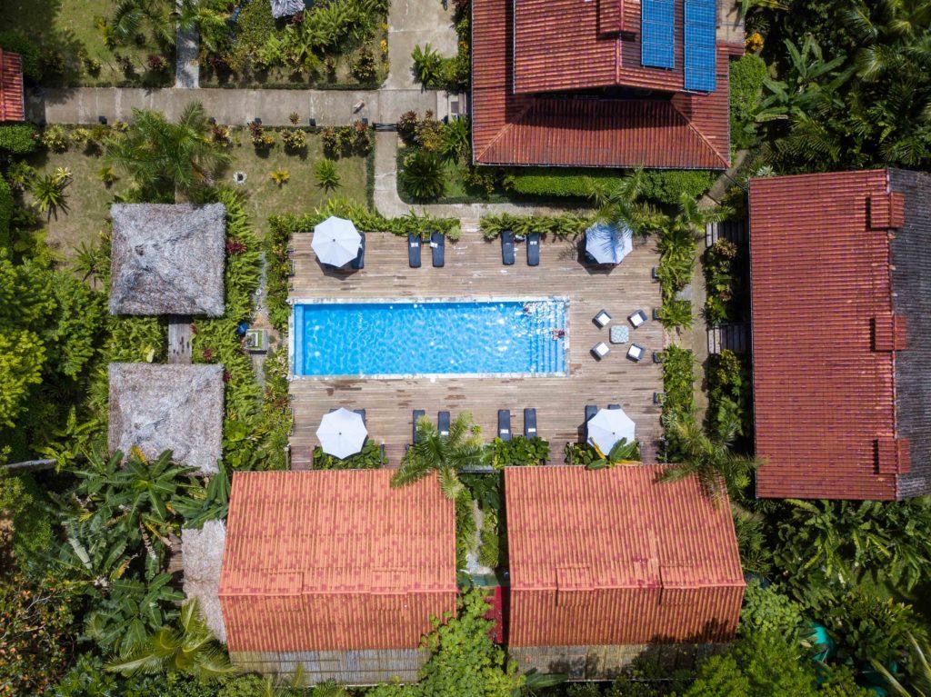 Drone shot Island Plantation resort Bocas del Toro Panama