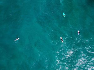 drone photo surfers Punta Banco