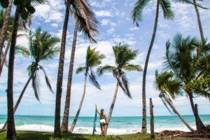 Surfer girl in Punta Banco Costa Rica