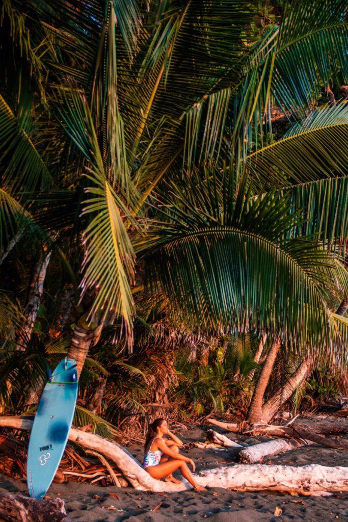 sunset surfer girl Rancho Burica Costa Rica