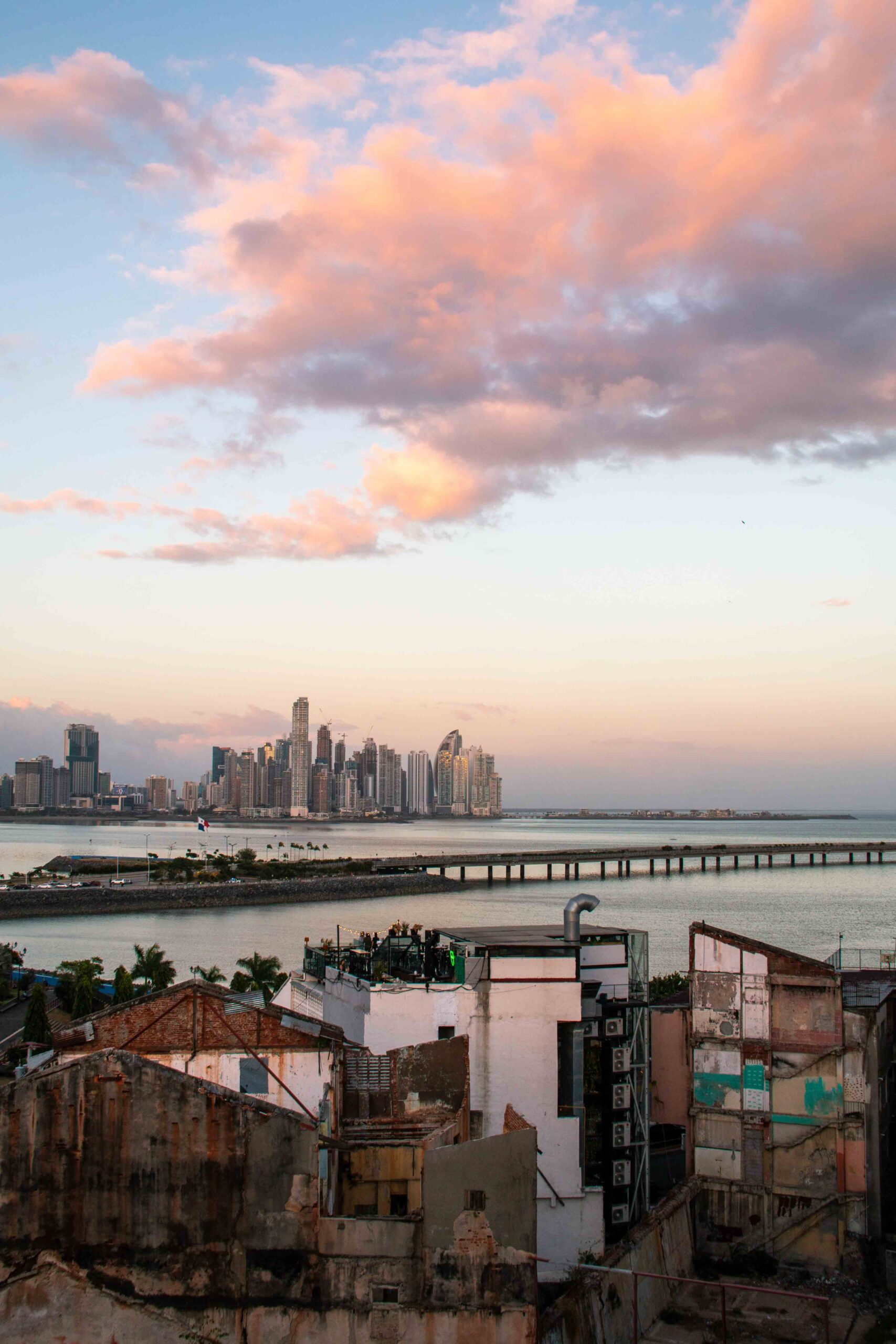 Sunset rooftop view Panama City