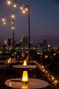 Rooftop bar Lazotea at night in Panama City