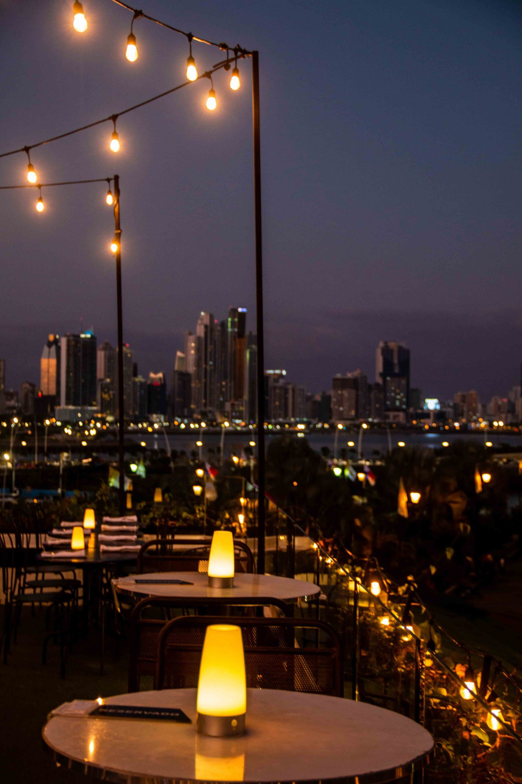 Rooftop bar Lazotea at night in Panama City
