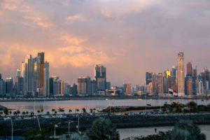 Panama City skyline during sunset