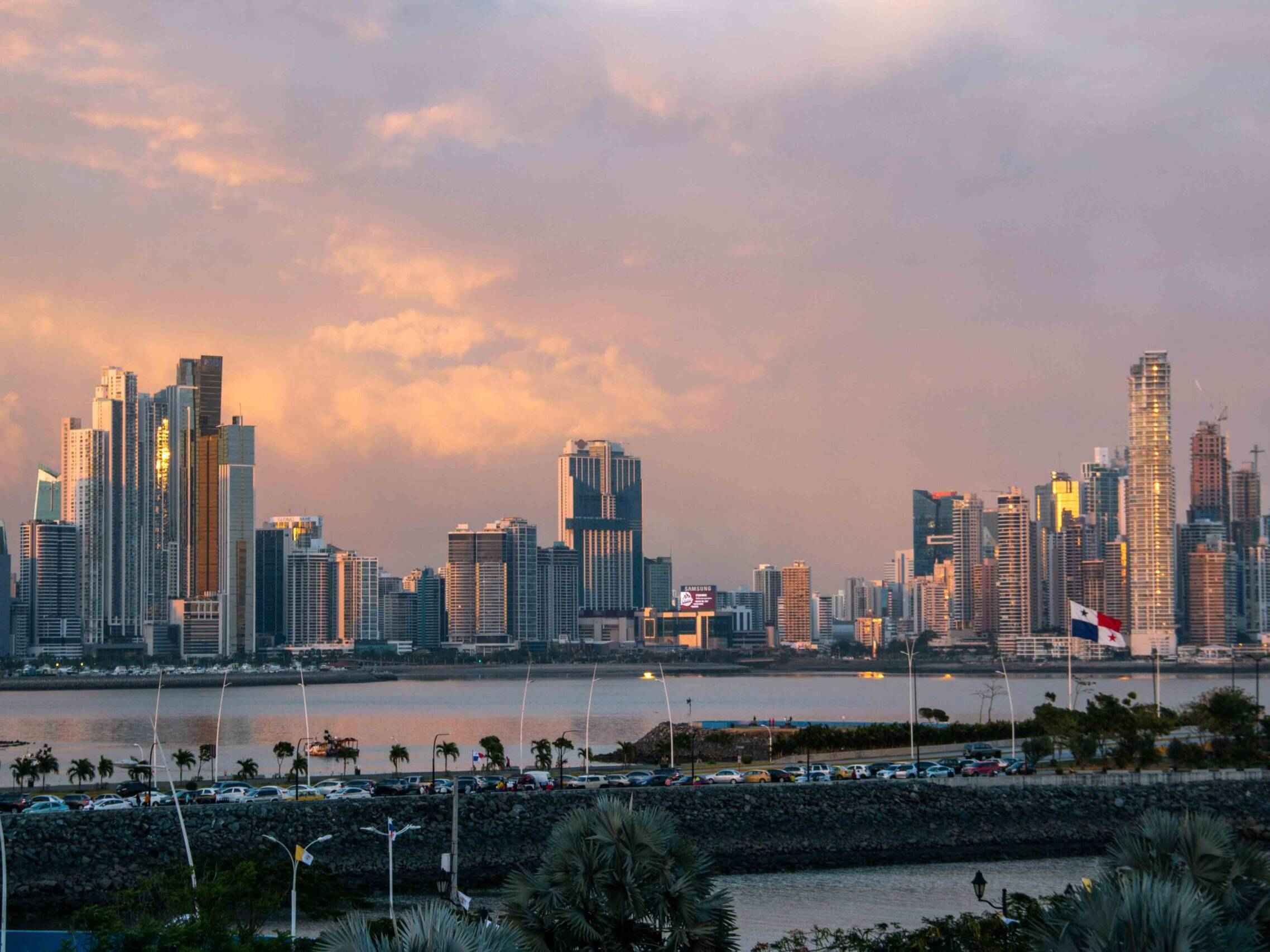 Panama City skyline during sunset