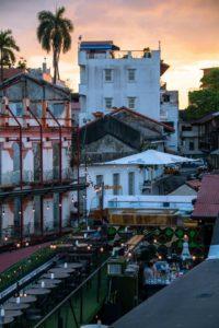 Lazotea rooftop bar Panama City sunset
