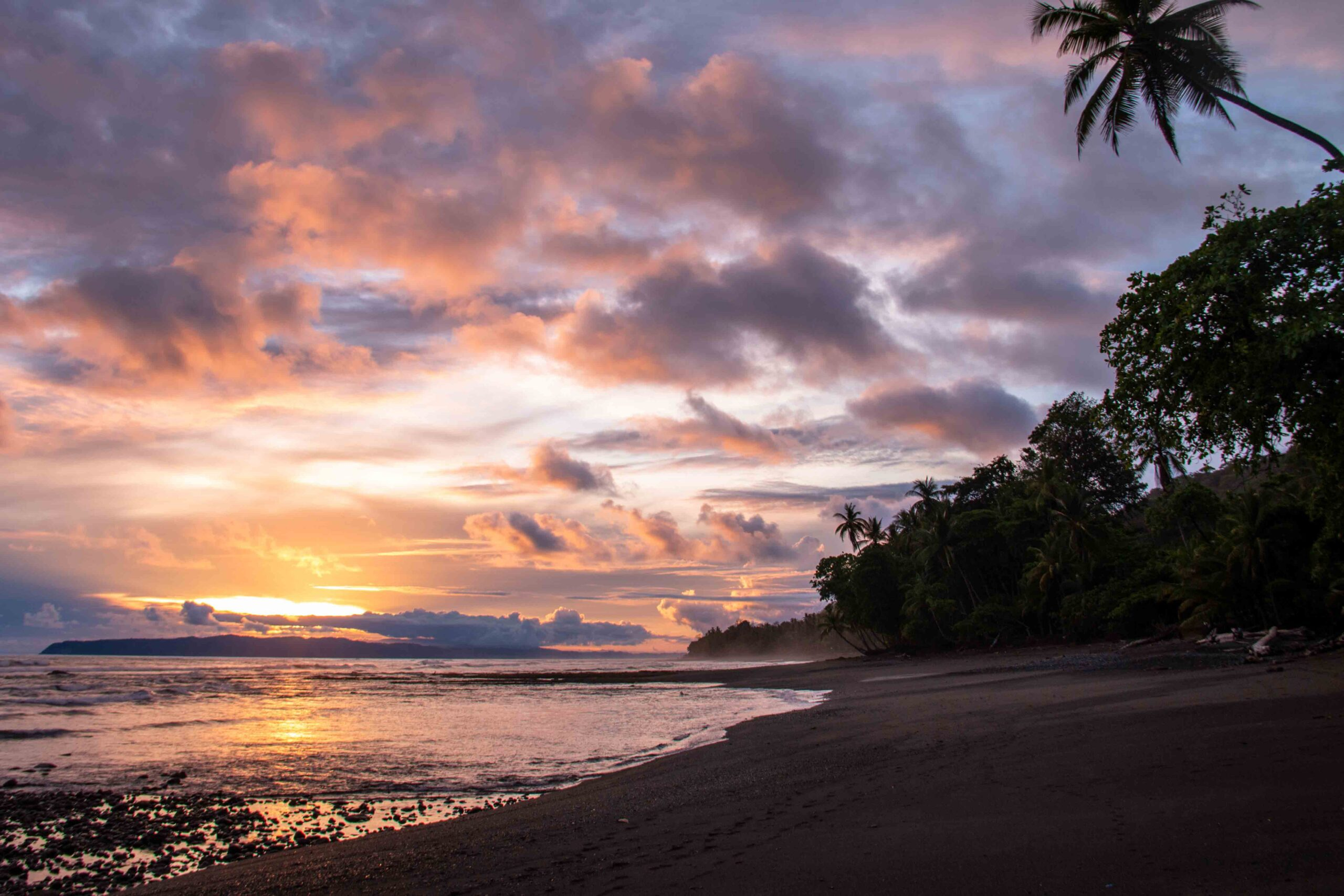 Sunset at Punta Banco Beach in Costa Rica during COVID-19