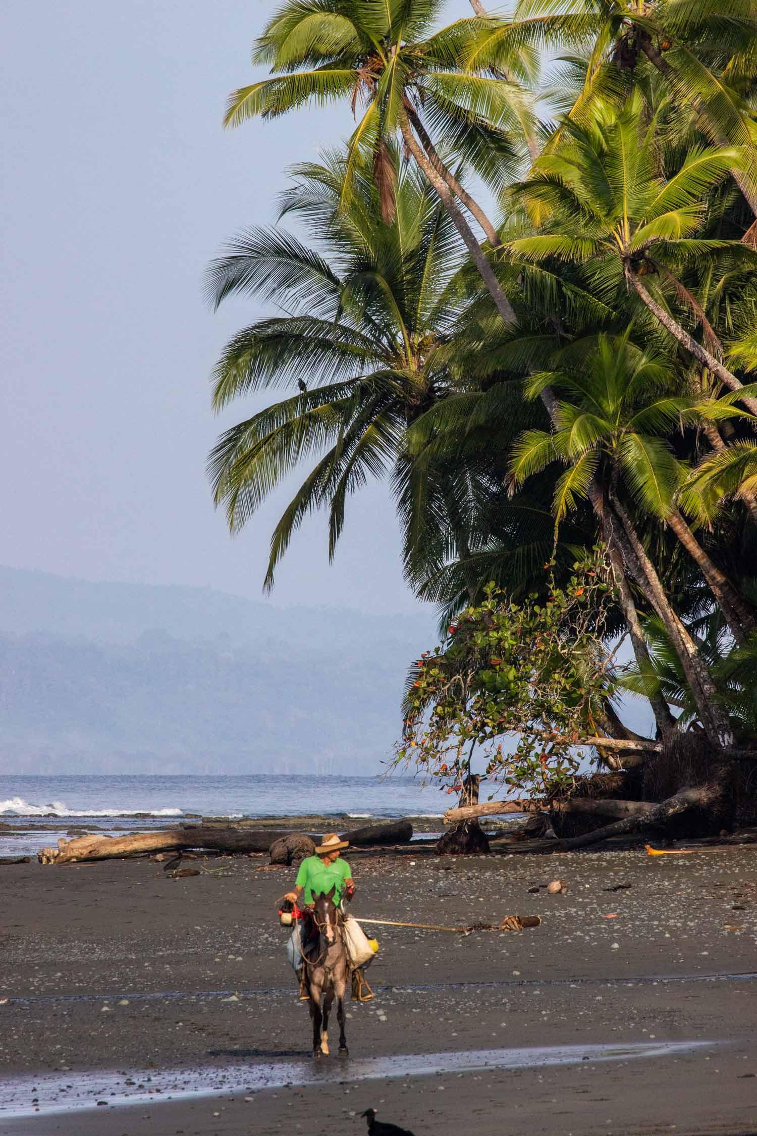 Local man horseback riding on the beach of Punta Banco Costa Rica