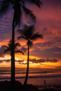 Sunset at Pavones beach in Costa Rica