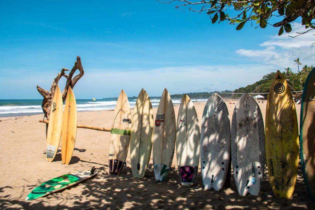 Surfboards at Playa Cocles in Costa Rica