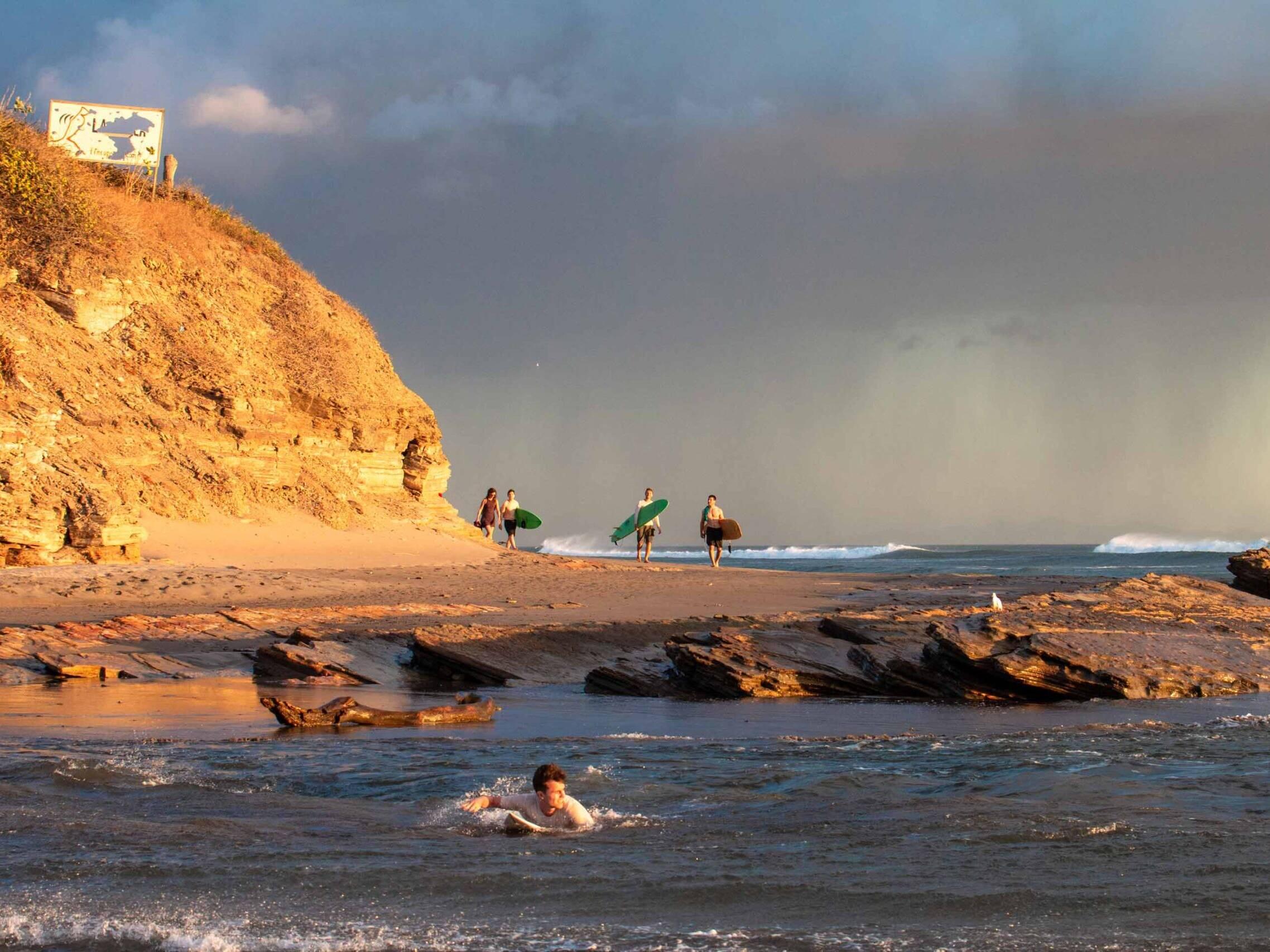 Surfers at Playa Guasacate Nicaragua