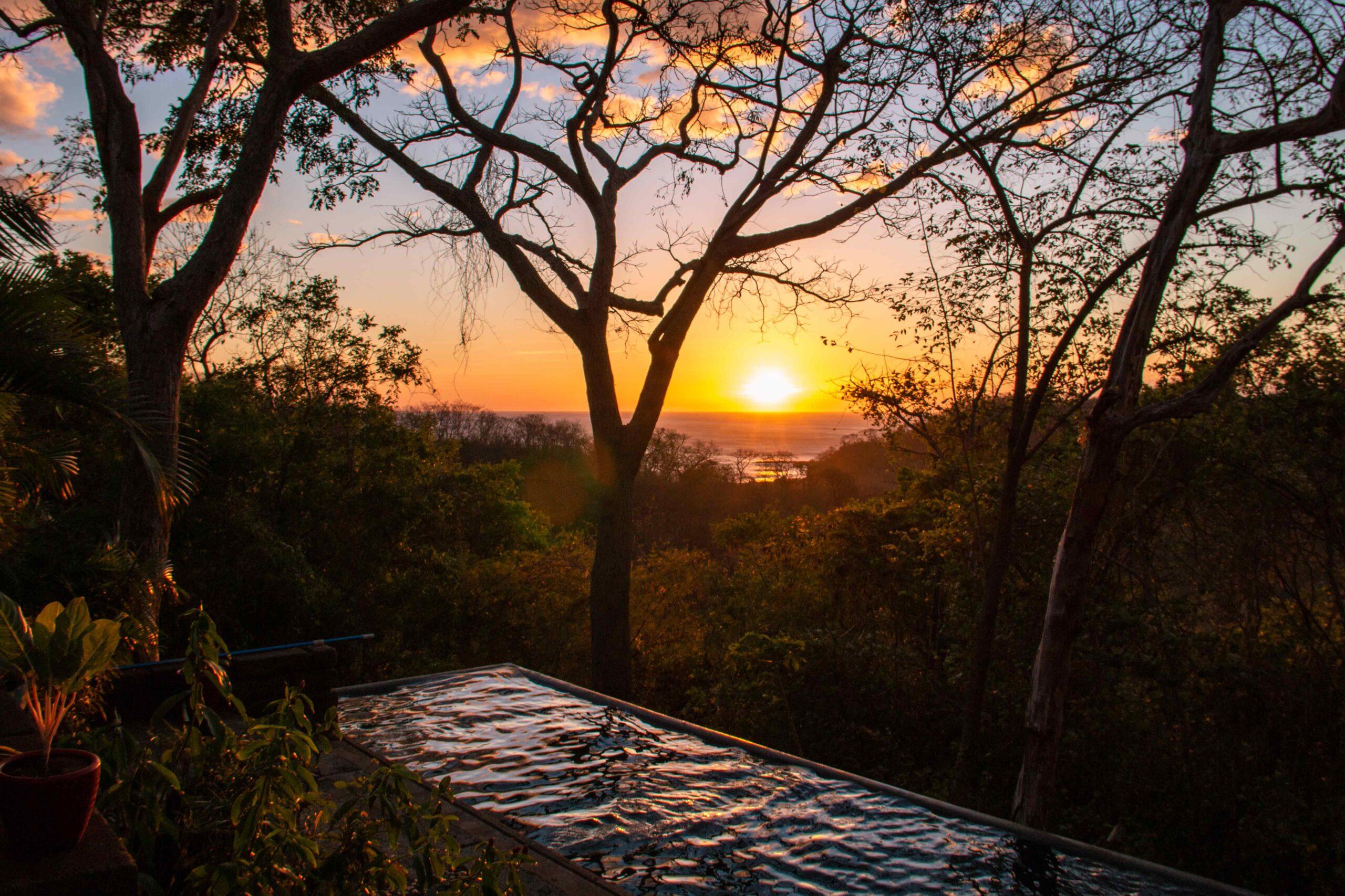 Sunset view from the infinity pool at Balcones de Majagual in Nicaragua