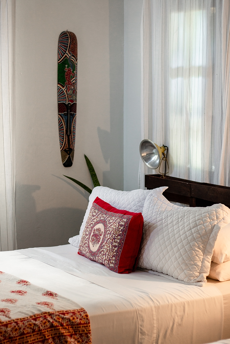 Bedroom interior details at Encantada Ocean Cottages Costa Rica
