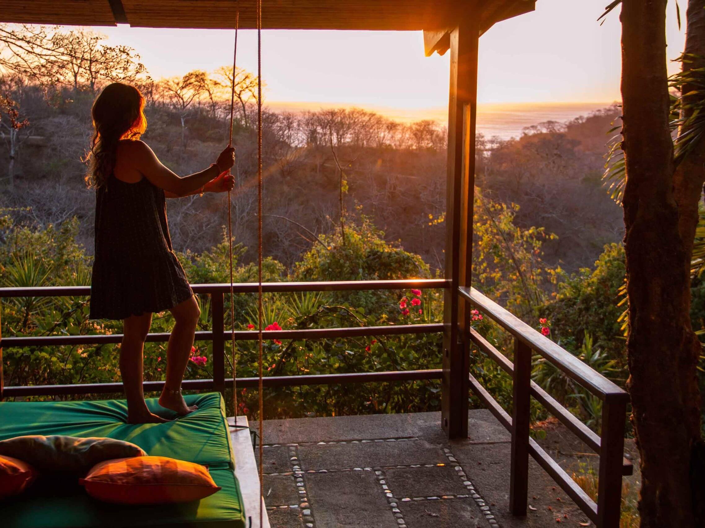 Sunset view from the terrace at Balcones de Majagual Nicaragua