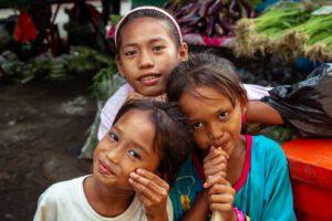 Girls on a market in Borneo