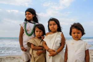Girls on the beach of Palomino Colombia