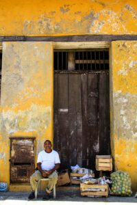Man on the streets of Cartagena Colombia