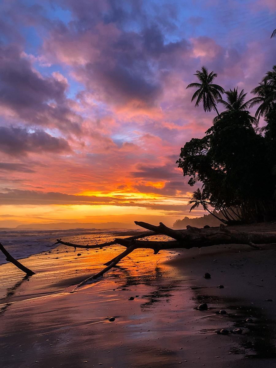 Beach sunset in Punta Banco Costa Rica