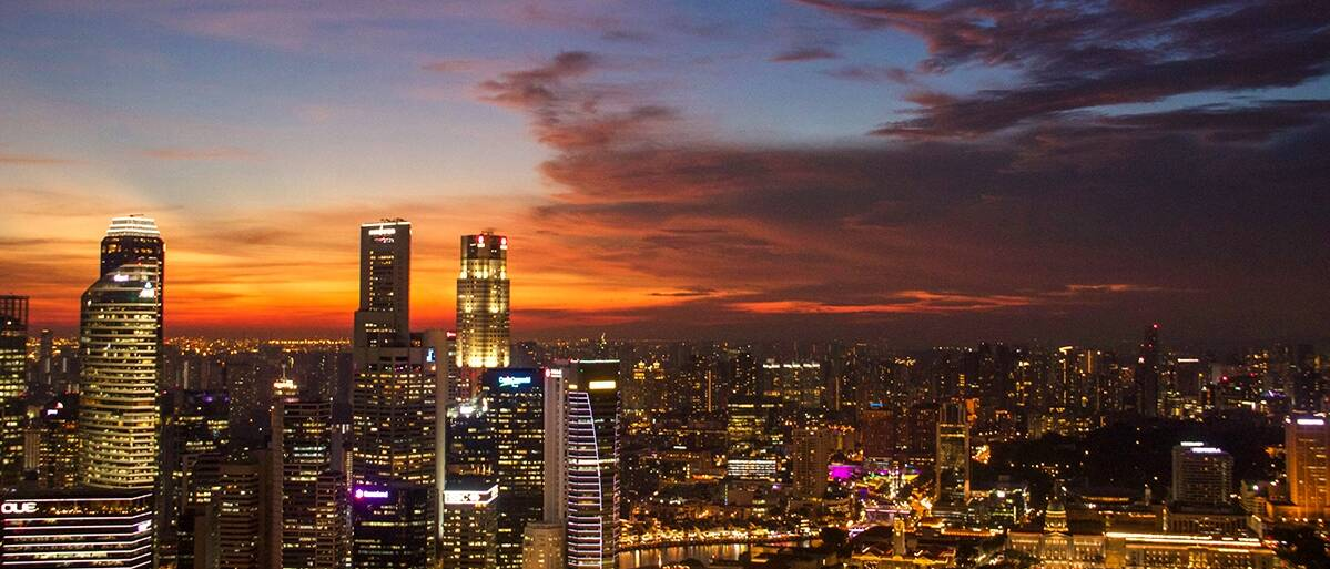 Sunset view over the Singapore skyline