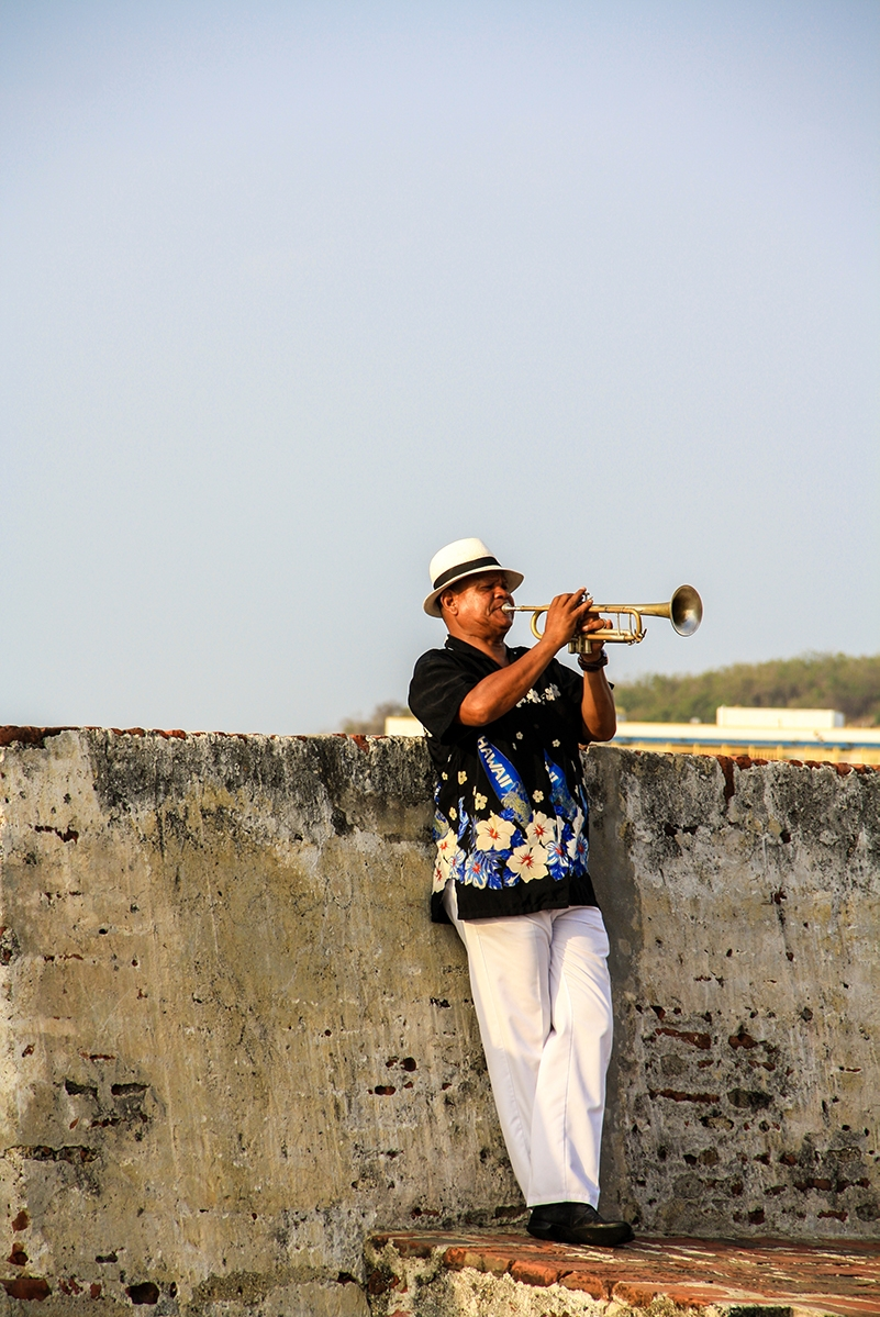 Trumpet player in Cartagena Colombia