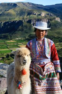 Woman and alpaca in the Colca Canyon Peru