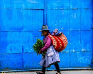 Woman on the streets of Huaraz Peru