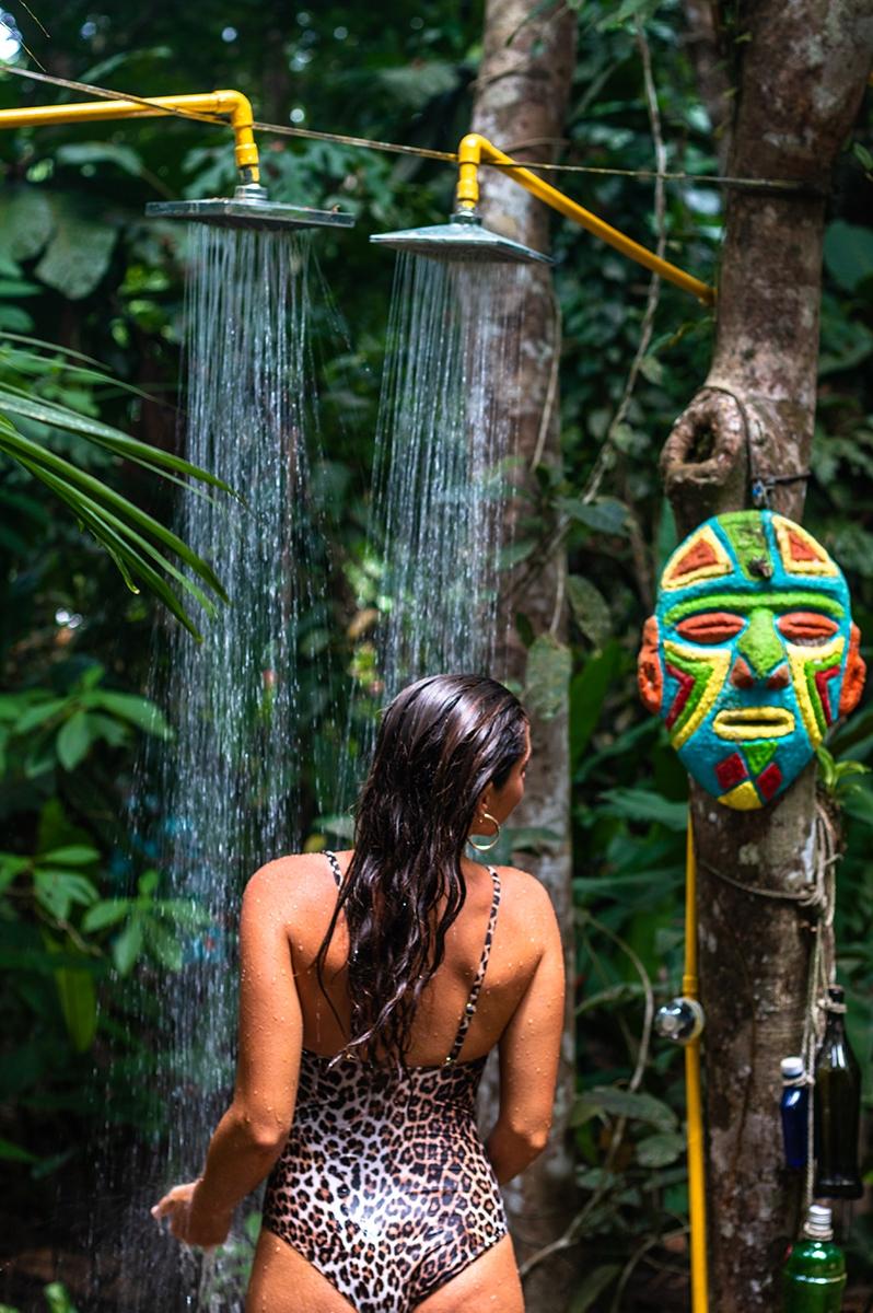 Outdoor shower at Congo Bongo hotel in Costa Rica