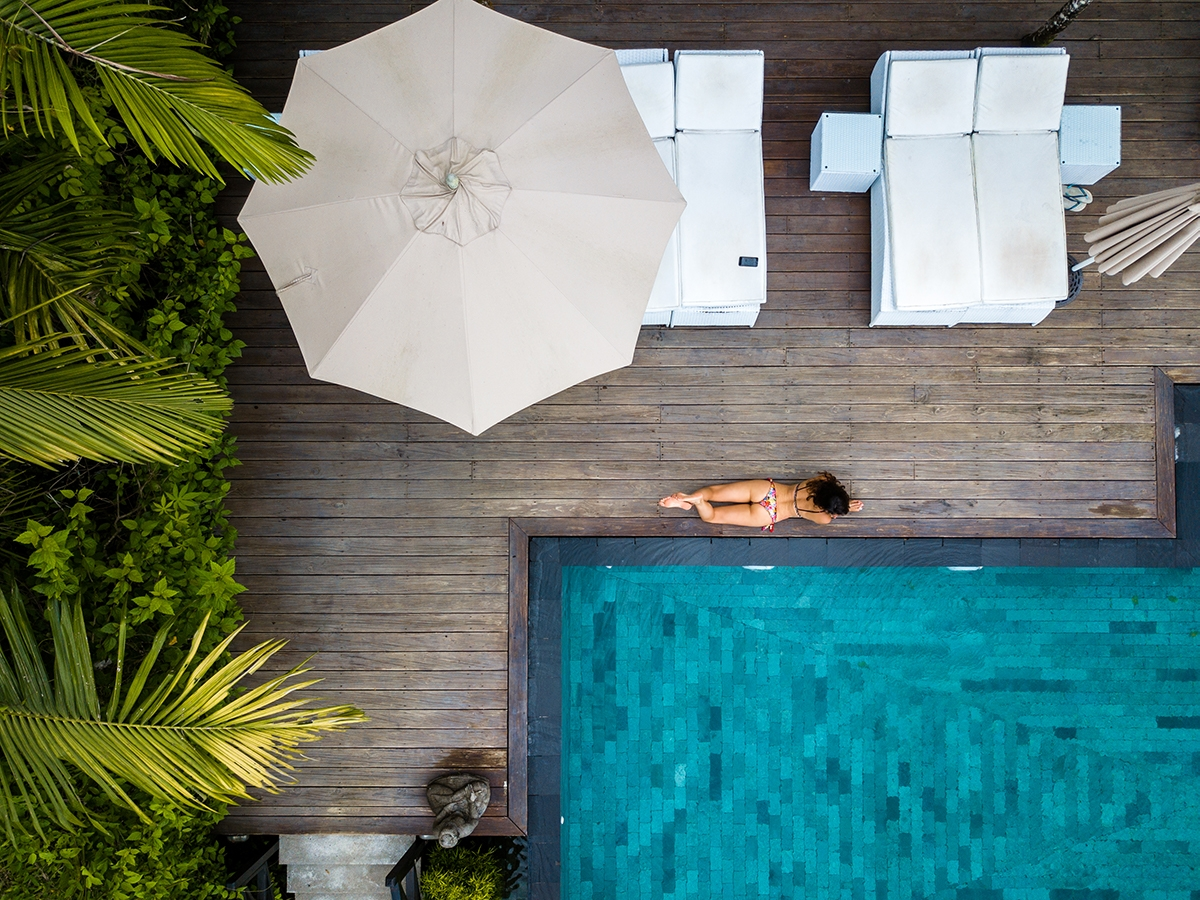 Drone photo Oxygen Jungle Villas pool in Costa Rica
