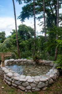 Outdoor bath tub at Finca Exotica hotel Costa Rica