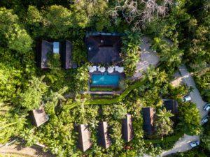 Drone photo of Oxygen Jungle Villas hotel in Costa Rica