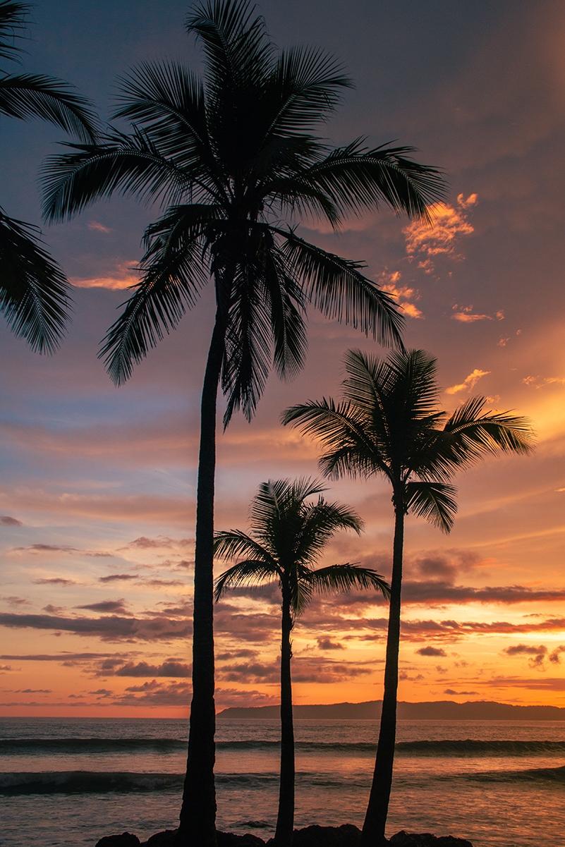 Sunset on the beach of Pavones Costa Rica