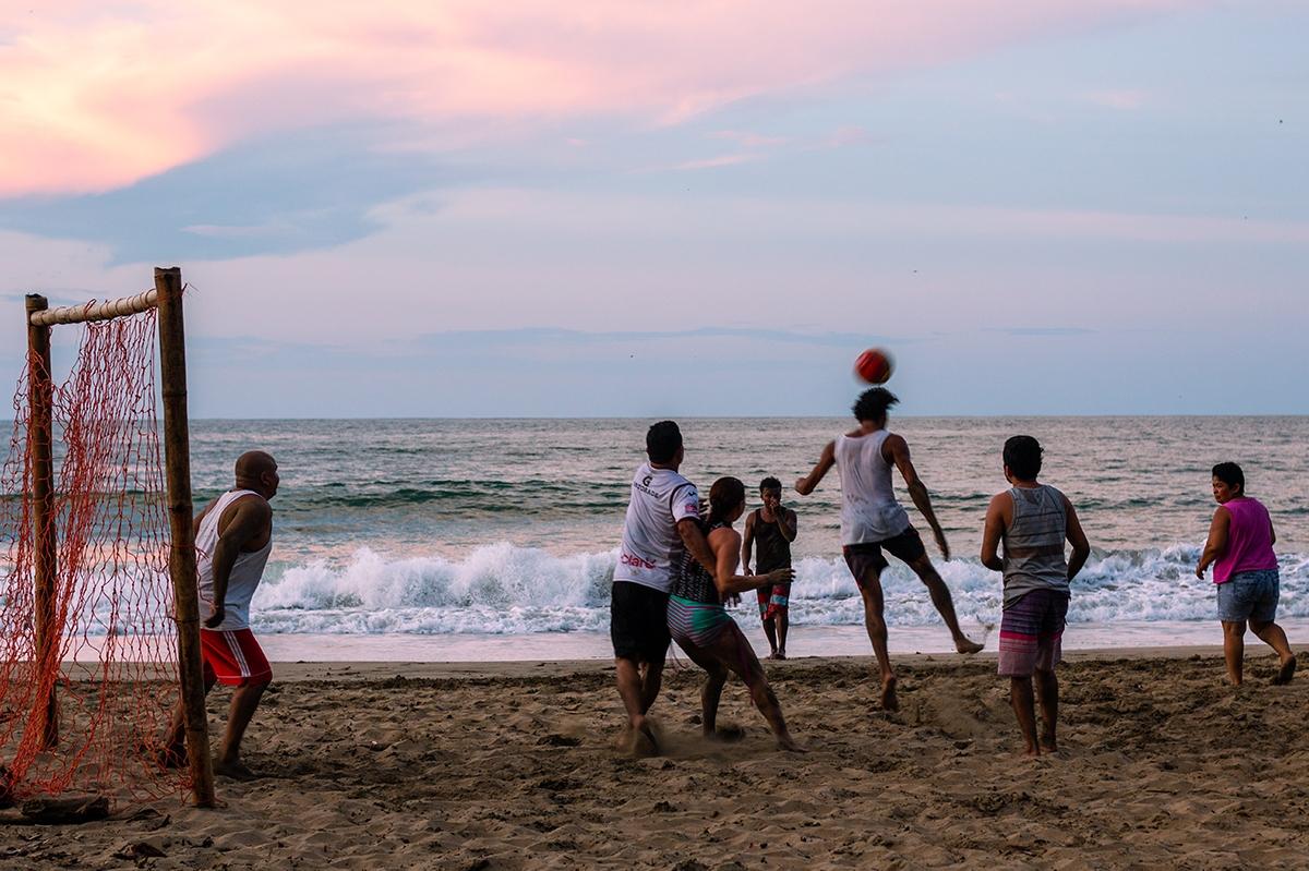 Beach soccer at Playa Grande in Punta Uva Costa Rica