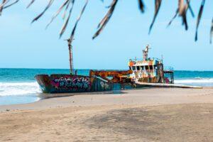 Ship wreck on Playa Manzanillo Costa Rica