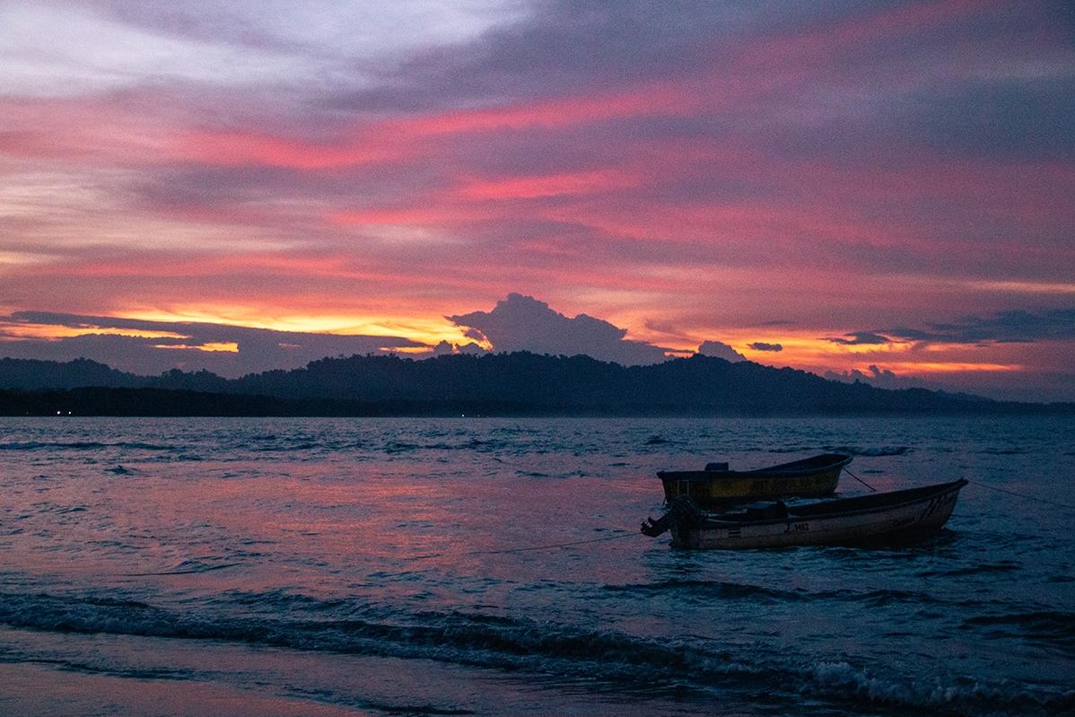 Sunset on the caribbean coast of Costa Rica