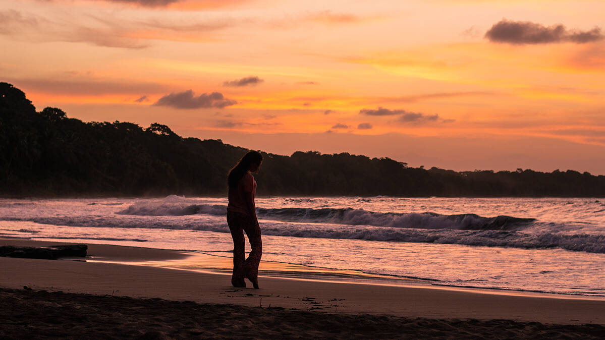 Sunset at Playa Manzanillo on the Caribbean coast of Costa Rica