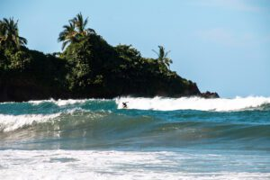 Surfing Playa Cocles in the Caribbean Costa Rica